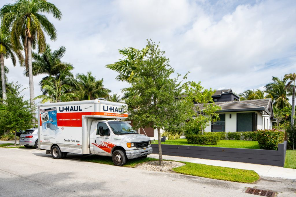 a moving truck outside a home in Florida